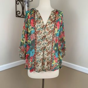 Joie Gloria Floral Silk Popover Peasant Top Blouse